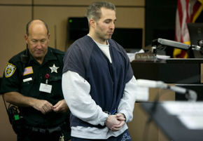 Jeff George, formerly of Wellington, testifies at the first-degree murder trial of former sugeon Gerald Klein following the death of patient Joey Bartolucci. George was brought from prison for testimony at the Palm Beach County Courthouse in West Palm Beach Florida on August 25, 2015. Klein was acquitted of in September, 2015.